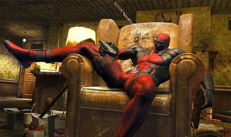 Deadpool character on a sofa