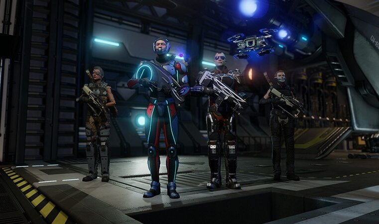 four armed XCOM characters