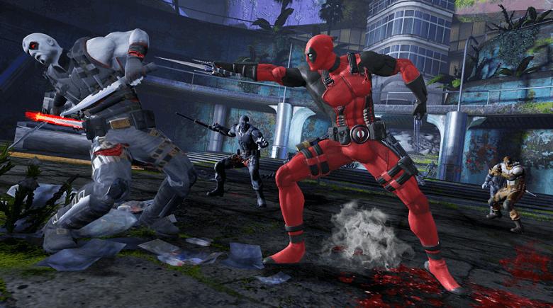 Deadpool fighting an enemy