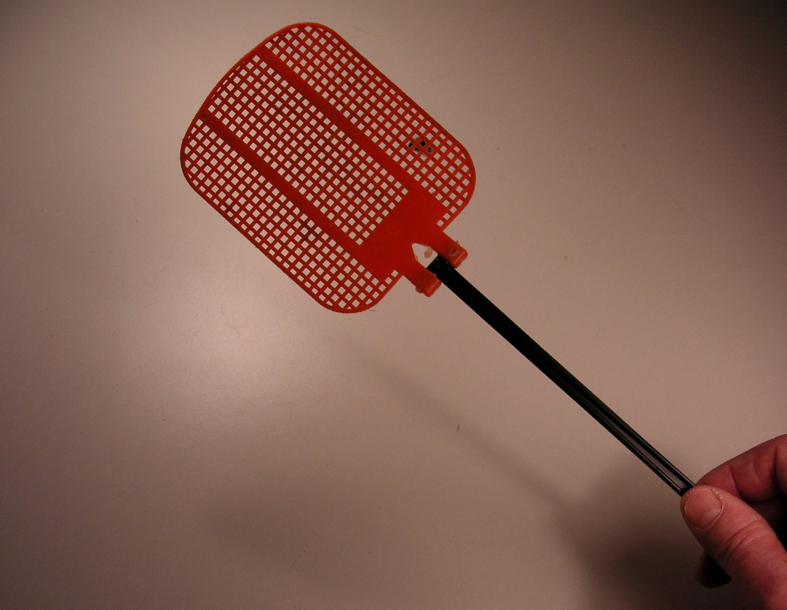 person holding a red fly swatter against a fly