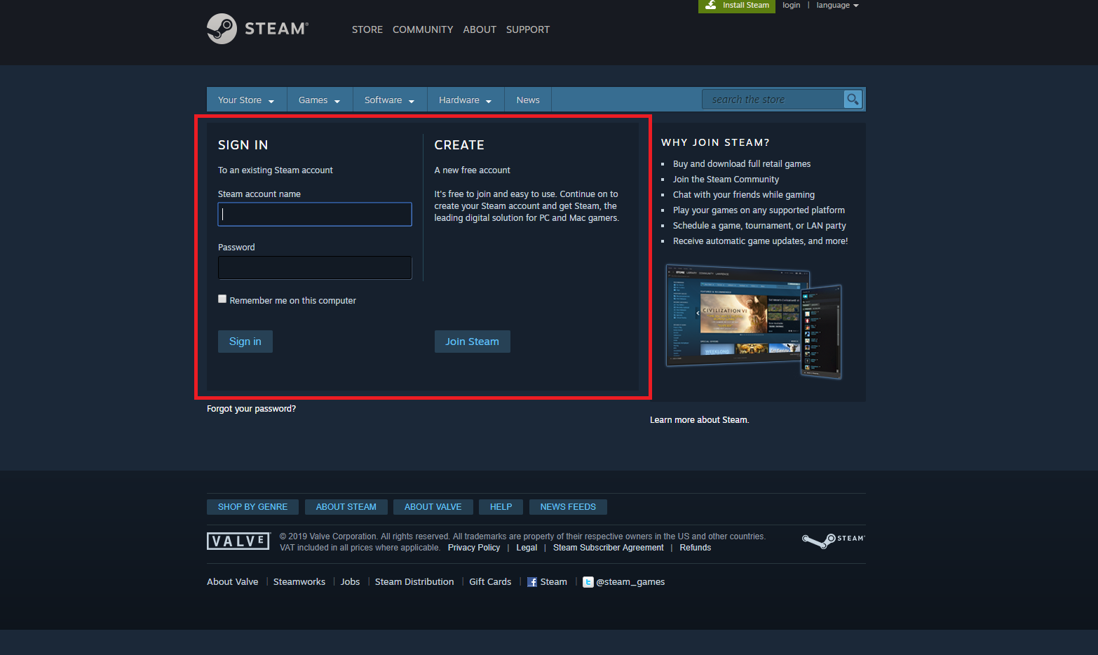 Steam Sign In Screen