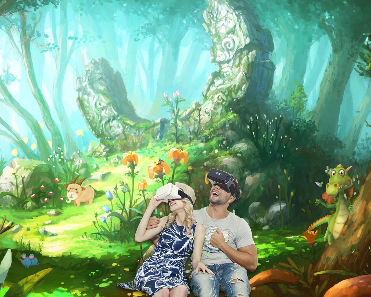 Couple is enjoying the virtual reality gaming and on their background is a forest with full of animals
