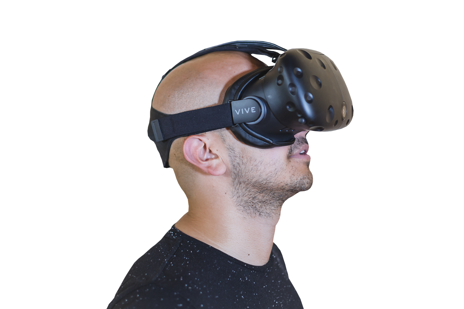 Man wearing the virtual reality technology